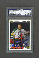 Ed Belfour signed Chicago Blackhawks 1991 Upper Deck French hockey card Psa-Dna