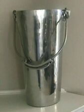 Pottery Barn large aluminum bucket vase with handle