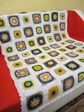 Granny Square Crochet Blanket.Baby Crib Blanket.Baby Patchwork Lap Afghan.