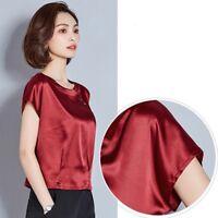 Lady Satin Silk Shirt Blouse Summer Tops Short Sleeve Round Neck Casual Slim Tee
