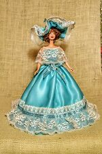Southern Belle Gown with Hat.Aqua Satin With Iridescent Glitter.Lace.Satin Roses