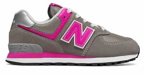 New Balance Kid's 574 Little Kids Female Shoes Grey with Pink