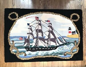 RARE! CLAIRE MURRAY Tall Sailing Ship Hand Hooked Fine Wool Rug R 233