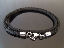 """3mm Grey Braided Silk Style Necklace ~ Stainless Steel 14/"""" 16/"""" 18/"""" 20/"""" 22/"""" 24/"""""""