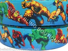 "2 M MARVEL AVENGERS HULK IRON MAN GROSGRAIN RIBBON 25MM 1"" HAIR BOW CAKE CARD"