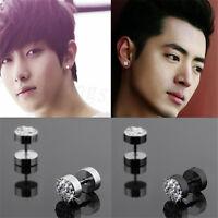 2Pcs Black Silver Men's Barbell Stainless Steel Punk Crystal Ear Studs Earrings
