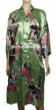 Elegant Peacock Design Silk Satin Kimono Robe Sleepwear Long w/ Waist Tie, Green