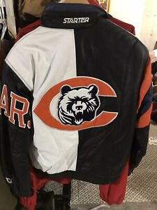 VTG Rare NWOT Nfl Chicago Bears Starter BIG Logo Leather Jacket Men's S
