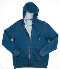 Men's AGAVE Blue Indigo Luxury Cotton Knit Full- Zip Hoodie Jacket M MSRP $245