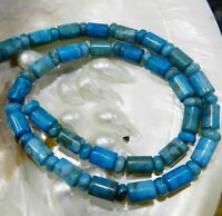 "6X9MM LARIMAR BLUE CRAZY LACE AGATE COLUMN LOOSE BEADS 15"" JL15"