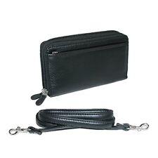 Buxton Pebbled Double Zip String Along Wallet BLACK