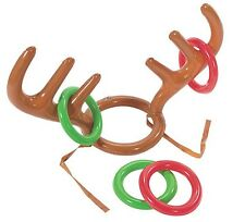 1 xChristmas Xmas Party Inflatable Reindeer Antler Ring Toss Fun Game Favours