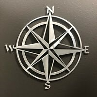 "Compass Rose 12"" Aluminum Metal Wall Art Skilwex Ocean Nautical Beach"