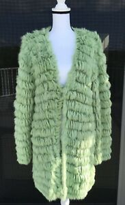 JUST CAVALLI GREEN RABBITHAIR & WOOL KNITTED CARDIGAN/COAT RRP$1999 SIZE M