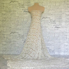 Antique ivory white hand beaded lace dress fabric. Mother of the bride wedding