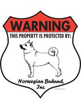 """Warning! Norwegian Buhund - Property Protected Aluminum Dog Sign - 7"""" x 8"""""""