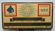 Metal Aquarius Zodiac Social Security Id Card Custom Engraved 080chr