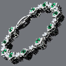 Round Cut Green Emerald 18K White Gold Plated Cubic Zirconia Tennis Bracelet