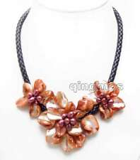 Red Baroque Shell Flower & Pearl Pendant Necklace for Women & Black Rope 18''