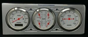 1940 CHEVY CAR 3 GAUGE DASH PANEL CLUSTER QUAD STYLE PROGRAMMABLE WHITE