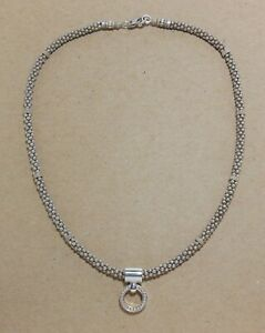 """LAGOS 925 Sterling Silver Caviar Beaded 16"""" Necklace w/ Enso Circle Pendant 44 G"""