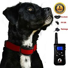 Red No Shock Dog Training Collar Remote Vibration Waterproof Rechargeable 100 Ls