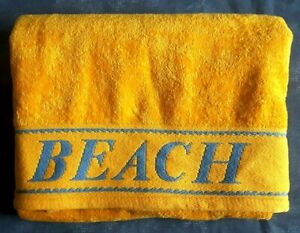 USED Aeresta 100% Cott Large Towel 90x156 Bright Yellow BEACH embroidered border