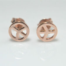 Shiny 14K /14ct Rose Gold Plated Small Peace Sign Symbol Stud Earrings Gift