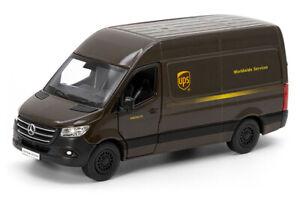 """5"""" UPS Mercedes Benz Sprinter Diecast Model Toy Car Delivery Van 1:48 Kinsmart"""