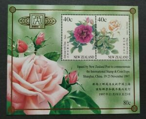1997 New Zealand Joint China - Roses MS (Overprint Shanghai Stamp Coin Expo) MNH