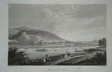 Schloß Pillnitz Elbe  Sachsen echter alter Stahlstich 1850