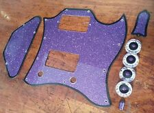 Pickguard Set Fits Gibson SG. Purple Flake/Black/white. JAT CUSTOM GUITAR PARTS