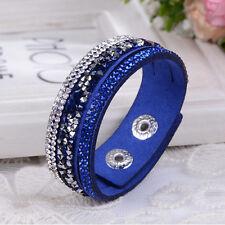 Fashion New Rhinestone Bracelet Leather Wrap Wristband Cuff Punk Bangle Gifts