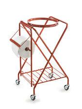 Porta spazzatura carrello a X, verniciato, con ruote in ferro, con elastico regg