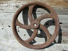 Antique Pulley Wheel, Iron w/ Curved Ornate Spokes, Barn Element, RePurpose!