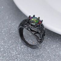 Steel Women Men Gift Punk Fashion Colorful Ring Black Rhodium Plated Crystal