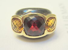 "David Yurman Renaissance Garnet Citrine 5/8"" Ring Band 14k Sterling 5 1/2 $1,750"