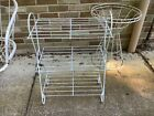 Plant Stand 1950s Metal Vintage White 3-tiered