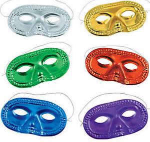 Pack of 12 - Metallic Half Masquerade Masks - Superhero Halloween Dress Up