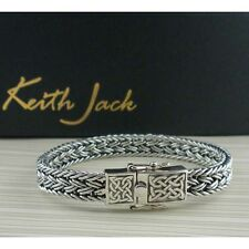 Sterling Silver Flat Dragon Weave Bracelet with Celtic Knot Closure Keith Jack