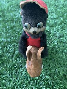Antique Japanese SCHUCO Mohair Monkey Metal Face Doll Riding Horse wind up Toy