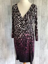 Coast Black, Pink & White Animal Print Faux Wrap Dress Uk14 Immaculate Condition
