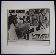 Glass Magic Lantern Slide BOB BURNS IM FROM MISSOURI FILM CINEMA ADVERT 1937