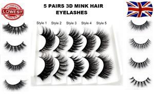 5Pairs 3D Natural False Eyelashes Long Thick Fake Eye Lashes Makeup Mink