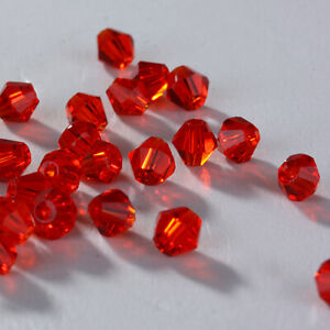 New 2/3/4/6mm Glass Crystal Bicone Loose beads Red For DIY Jewelry Making