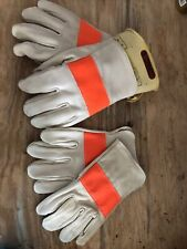 2 Pair Genco Leather Gloves For Linemanutility Worker Withrubber Gloves Amp Case