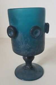Glass IN Foot, Chalice Glass Opaque Blue