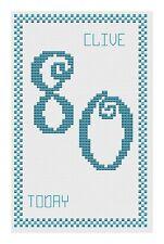 80th anniversaire bleu Kit de cartes de point de croix par florashell