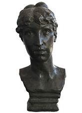 Buste de femme en bronze patine verte époque 1900