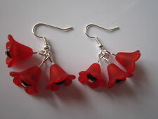 Drop / Dangle Earrings - Large Red Poppies - Triple Poppy - Silver Plated